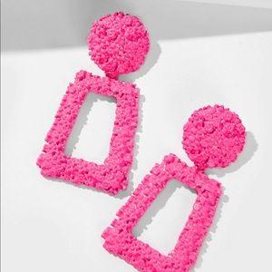 Textured Geometric Drop Earrings